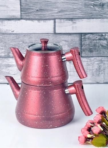 Bayev Granit Renkli Çaydanlık Takımı(Kırmızı) Kırmızı